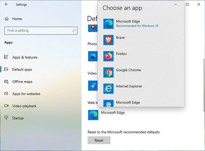 Default browser on Windows 10