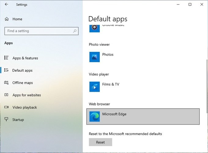 Default Apps Windows 10 Settiings page