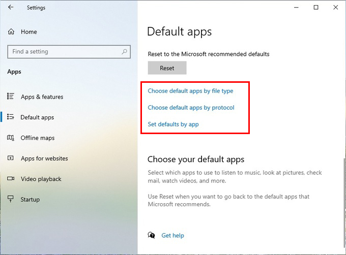 change windows 10 file associations