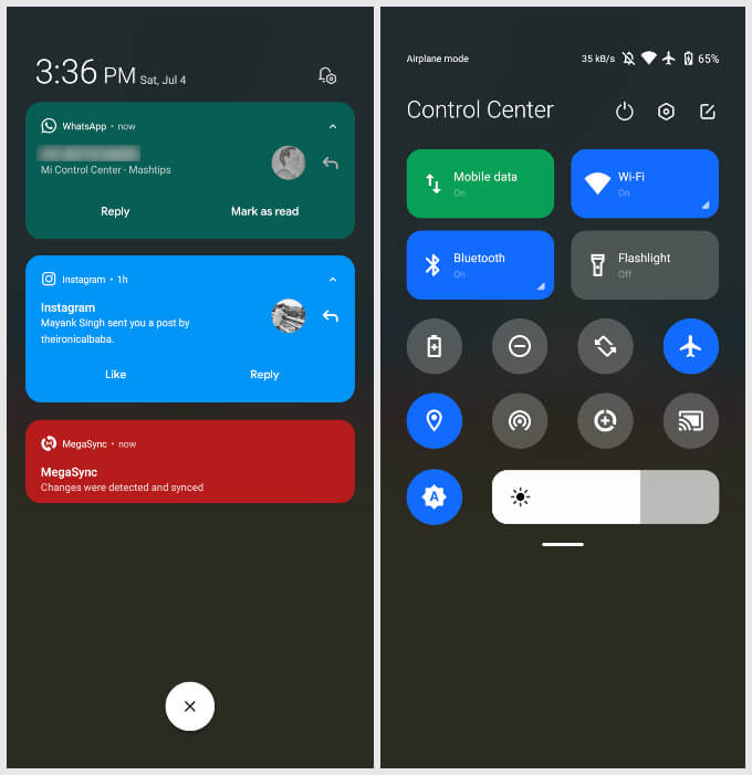 iOS Control Center on Android