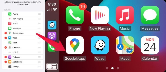 Apple CarPlay Apps Organized Screen