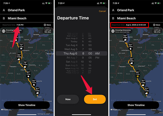 Change Departure Time on Weather Along the Route App