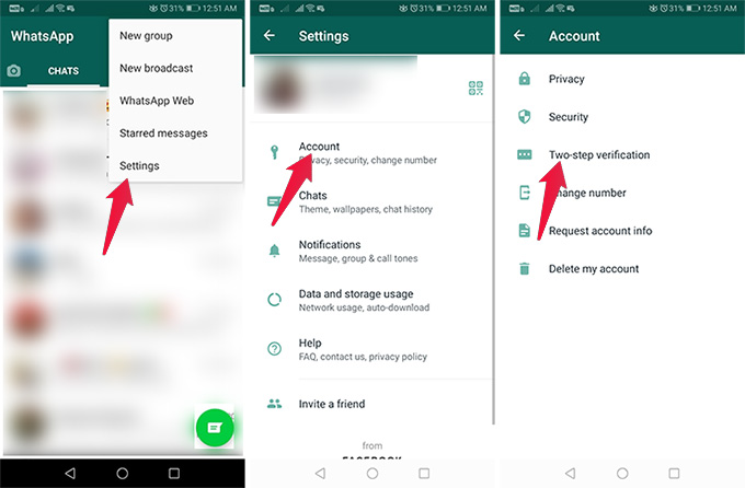 Enable Two Step Verification for WhatsApp on Androidd