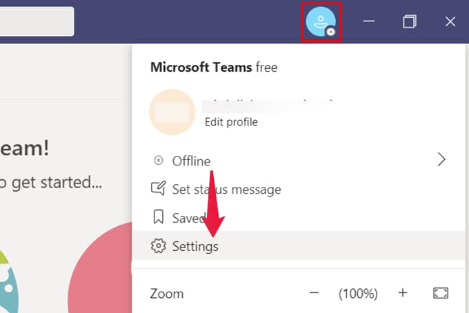 Go to Setting from Microsoft teams on Windows