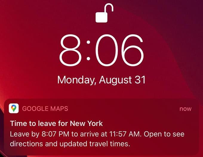 Google Map Leave on Reminder Notification