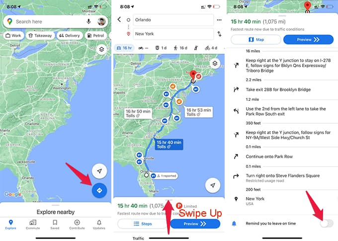 Google Maps Reminder to Leave on Time