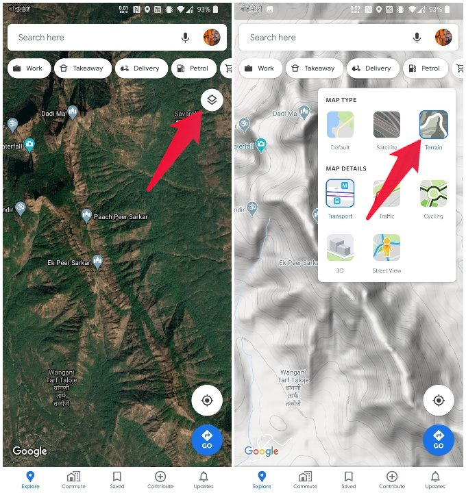 Select Terrains layer from Google Maps