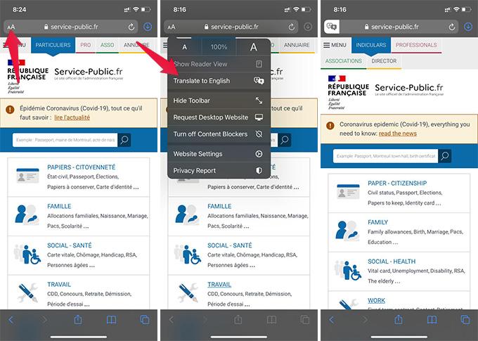 Translate Webpage to English in Safari on iPhone
