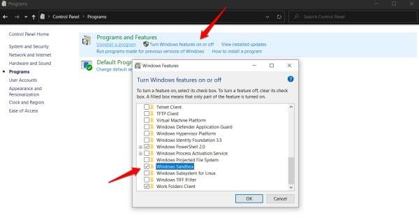 enable sandbox in windows 10