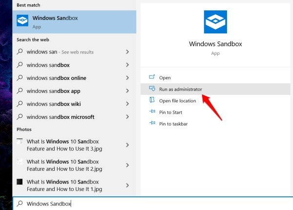 launch sandbox with admin rights in windows 10