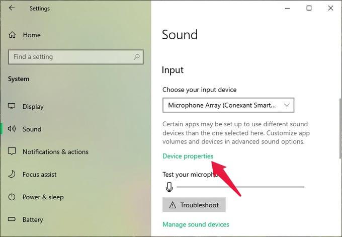Sound Settings on Windows 10