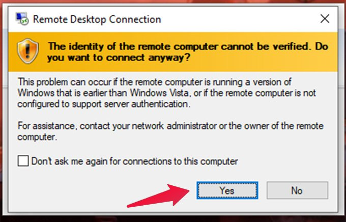 accept remote desktop connection