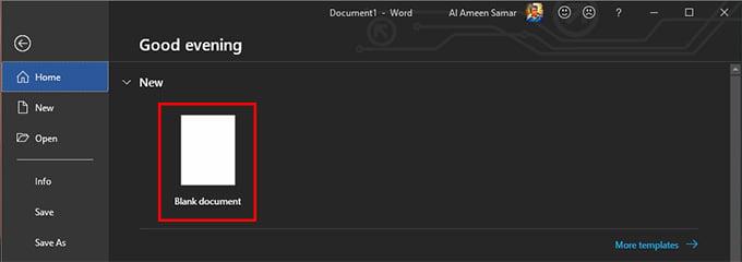 create blank word document