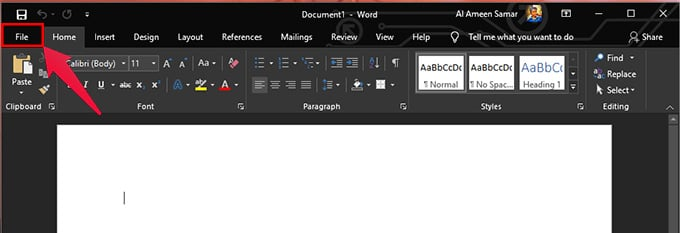 file ribbon in word