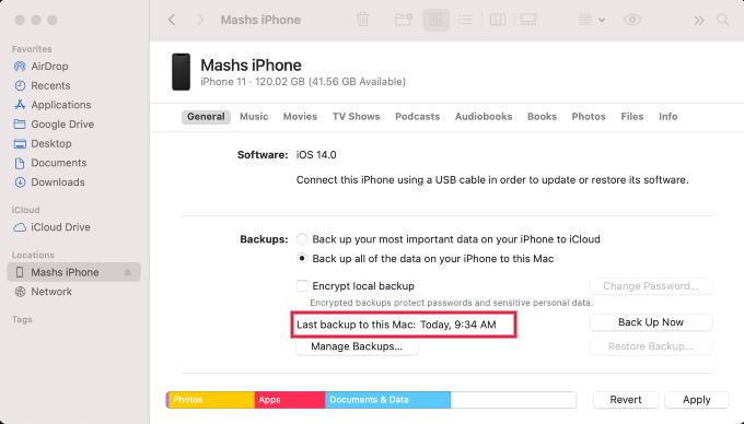 iPhone WiFi Mac Backup Completed