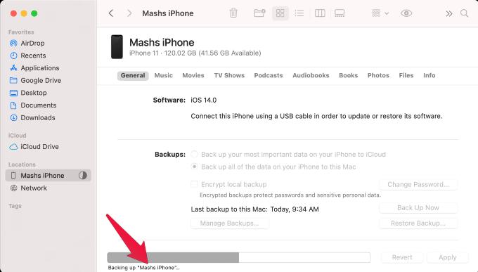 iPhone WiFi Mac Backup Progress