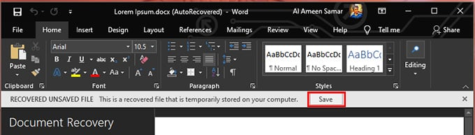 save recover word document