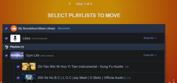 select playlists and songs in tune my music