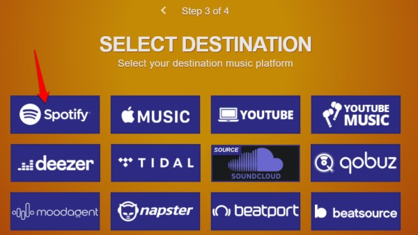 choose destination in tune my music