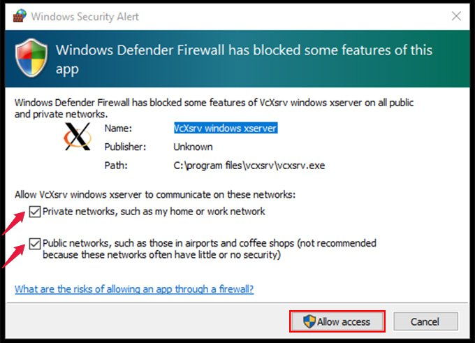 xlaunch enable network access control
