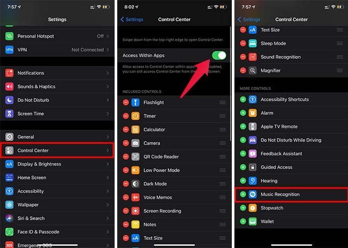 Add Shazam Music Recognition on iPhone Control Center