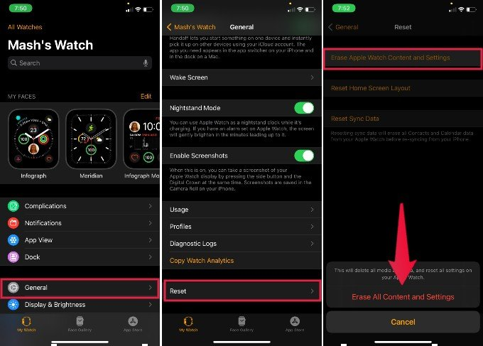 Apple Watch Erase Content Settings