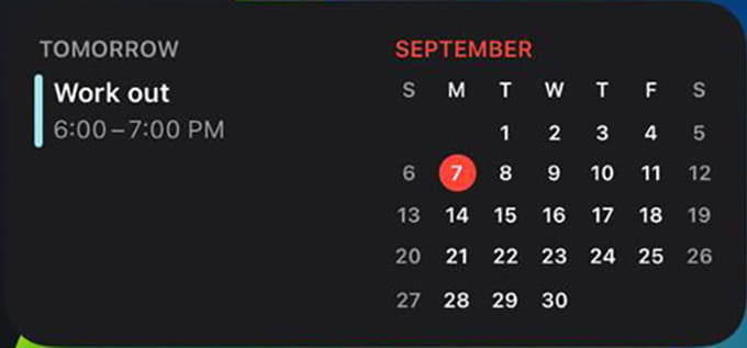 Calendar iPhone Widget