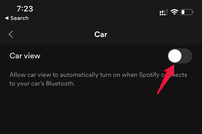 Disable Spotify Car View