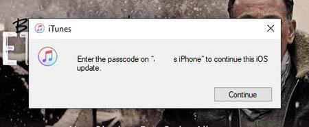 Masukkan Kode Sandi di iPhone untuk Memperbarui iOS dari Layar iTunes