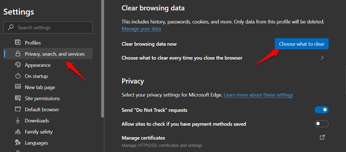 privacy options in edge browser