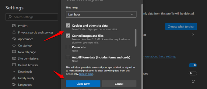 clearing cookies and data in edge