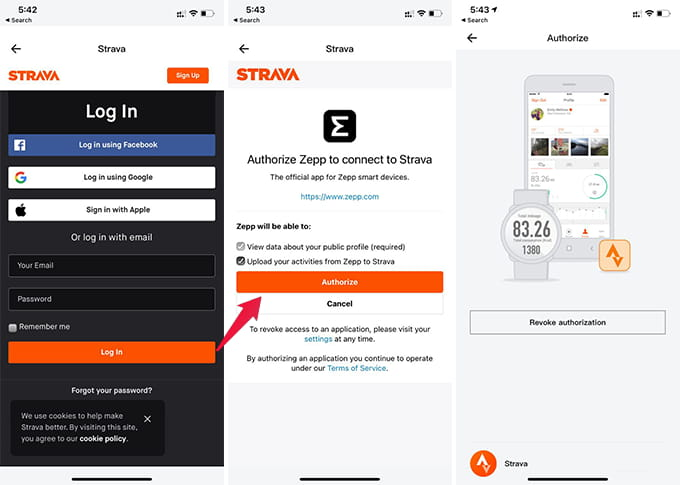 Sign in and Sync Amazfit Bip Data with Strava
