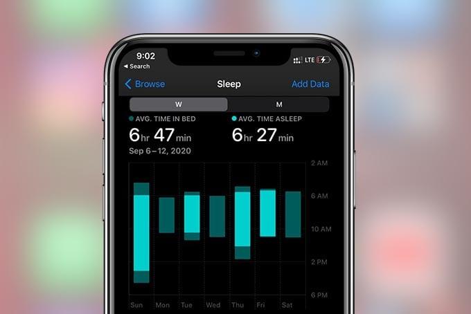 Sleep Data on Apple Health App iPhone