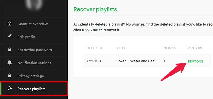 Spotify Recover Playlists Using Account Settings