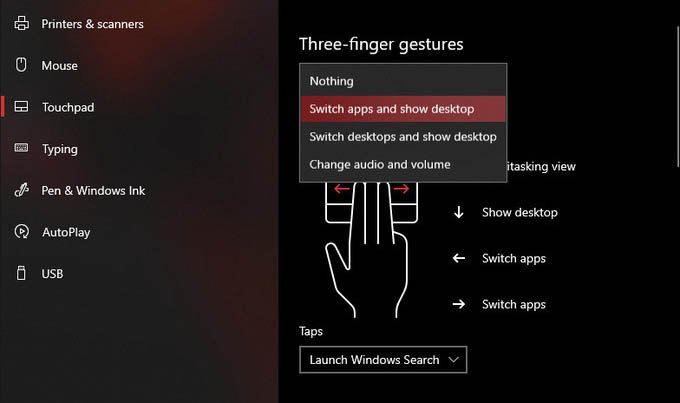 Three finger Gestures for Precision Touchpad in Windows 10