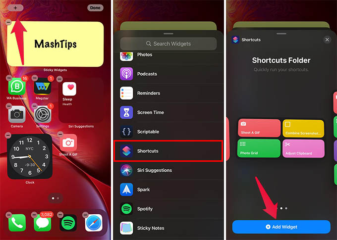 Add Shortcuts Widget on iPhone Home Screen