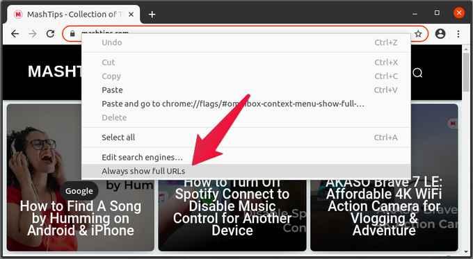 Always show full URL in chrome address bar