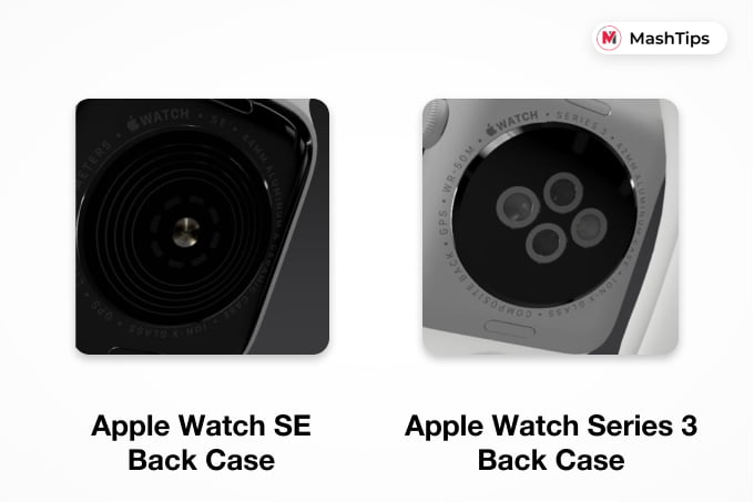 Apple Watch SE and Apple Watch Series 3 Back Case Design