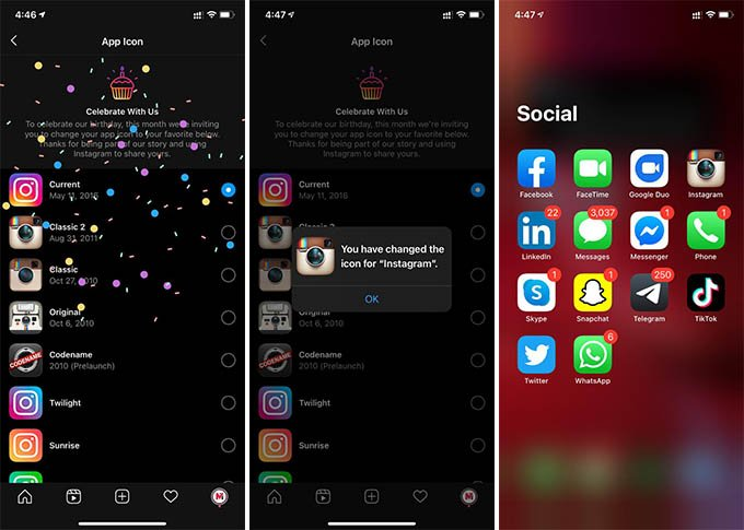 Change Instagram App icon Android and iPhone