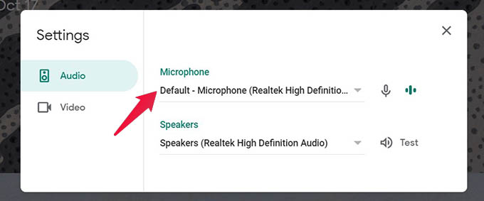 Change Microphone and Fix Mic Not Working on Google Meet