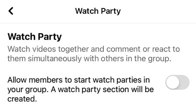 Disable Facebook Watch Party on Groups