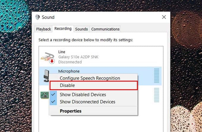 Disable Microphone on Windows 10