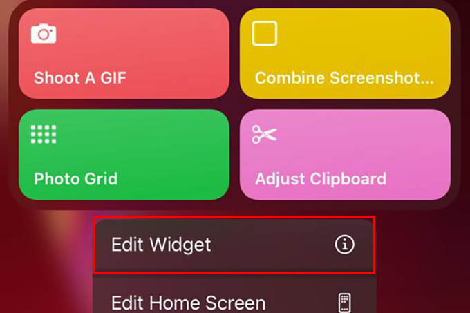 Edit Shortcuts Widget on iPhone