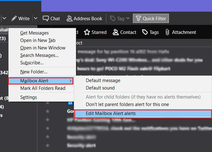Edit Thunderbird Mailbox Alerts