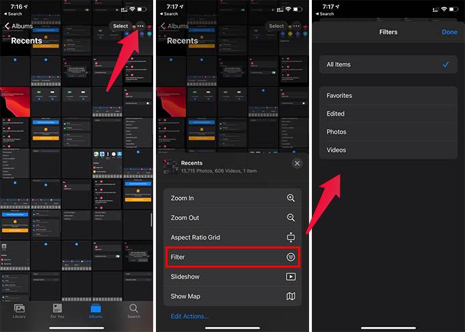 Filter Photos in iPhone Photos App