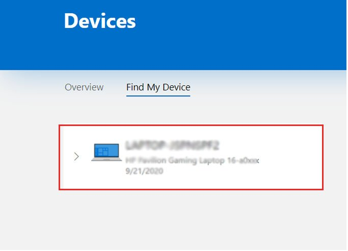 Find My Device Laptop Windows 10