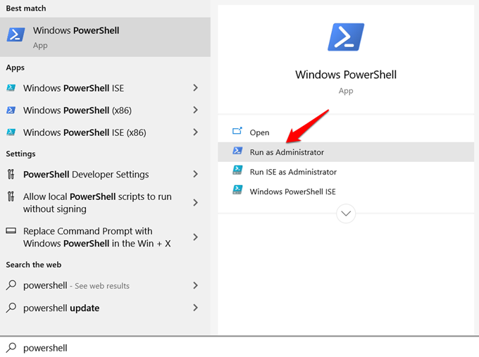opening powershell with admin rights