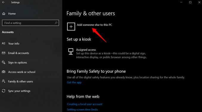 new user account in windows 10