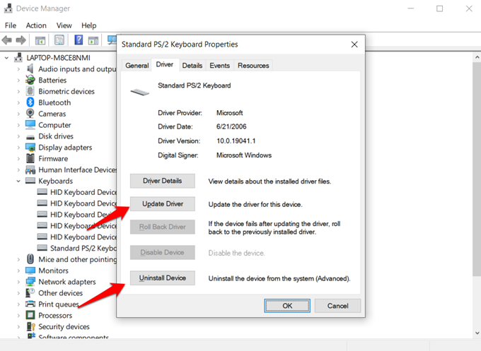 reinstall or roll back keyboard drivers
