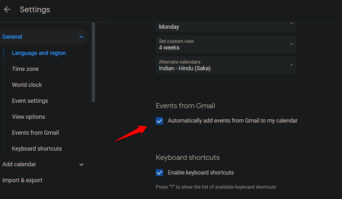 add gmail events to calendar